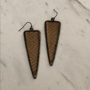 Urban Outfitters Snake Skin Triangle Earrings